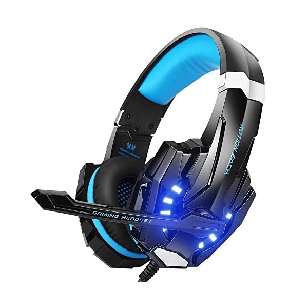BENGOO G9000 Stereo Gaming Headset for PS4, PC, Xbox One Controller, Noise Cancelling Over Ear Headphones with Mic, LED Light, Bass Surround, Soft Memory Earmuffs for Laptop Mac Nintendo Switch Games 1