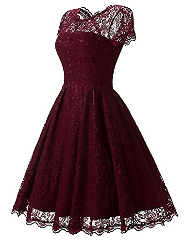 Benegreat Dentelle Florale Vintage Femme Rockabilly Robe De Cocktail Swing Fête Rouge