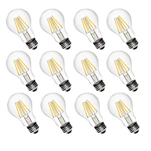 - GOBULB A19 Dimmable LED Light Bulbs with Filament (12 PACK)| 60 Watt Equivalent 2700K Warm White Vintage Lights & Eco Friendly | 600 Lumens | Save Energy, Upgrade Home Décor Create A Unique Atmosphere
