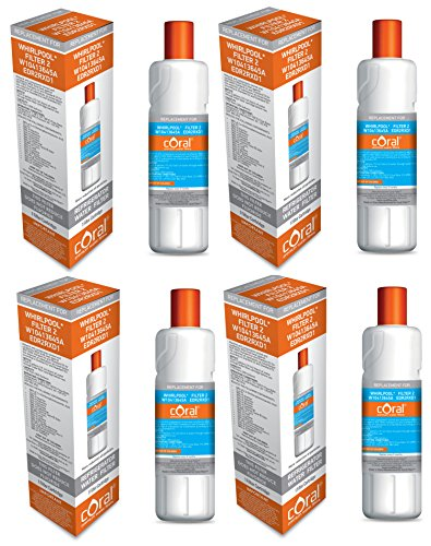 Whirlpool Filter 2 W10413645A EDR2RXD1 KENMORE Compatible Coral Water Filter 4 PACK by CORAL FILTER