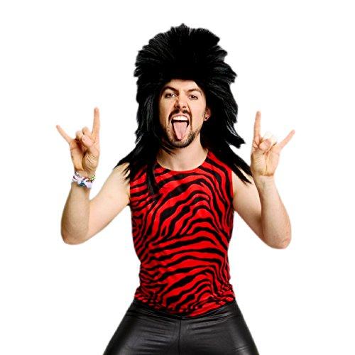Men's Neon Zebra Heavy Metal Tank Top Shirt (Medium, Red)