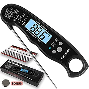 "KULUNER TP-01 Waterproof Digital Instant Read Meat Thermometer with 4.6"" Folding Probe Backlight & Calibration Function…"