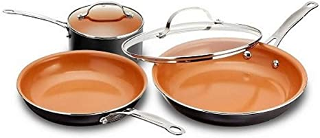 Amazon Com Gotham Steel 5 Piece Kitchen Essentials Cookware Set With Ultra Nonstick Copper Surface Dishwasher Safe Cool Touch Handles Includes Fry Pans Stock Pot And Glass Lids Original Kitchen Dining