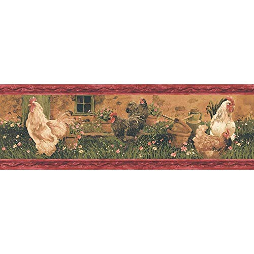 Border Rooster Red (Decorate By Color BC1581478 Red Rooster Border)