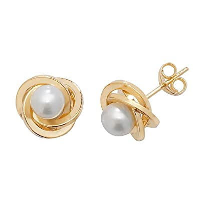 0a25a7a02 9ct Yellow Gold 8mm Twisted Knot & Pearl Stud Earrings Weight 0.9g:  Amazon.co.uk: Jewellery