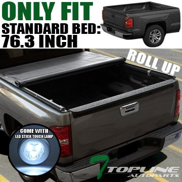 Topline Autopart Lock Roll Up Soft Vinyl Truck Bed Tonneau Cover With LED Touch Lamp JR For 94-01 Dodge Ram 1500 ; 94-02 2500/3500 6.5 Feet (78