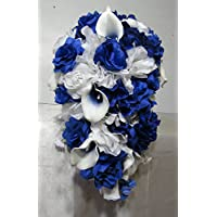 Royal Blue White Rose Calla Lily Cascading Bridal Wedding Bouquet & Boutonniere