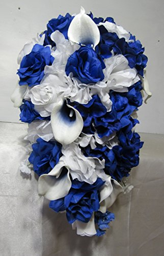 Royal Blue White Rose Calla Lily Cascading Bridal Wedding Bouquet & (Cascading Rose Bouquet)