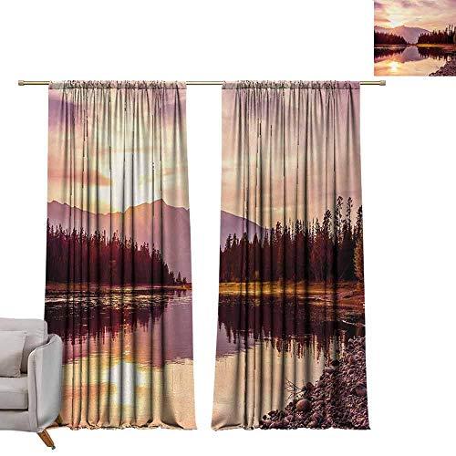 Decorative Curtains for Living Room Landscape Grand Teton Mountain Range at Sunset Jackson Lake Calm National Park USA Durable W96 xL108 Peach Pale Yellow