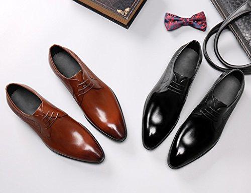 Zapatos Clásicos de Piel para Hombre Zapatos de cuero para hombres Negocios Zapatos de encaje estilo británico solo Ropa formal acentuada ( Color : Marrón , Tamaño : EU43/UK8 ) Negro