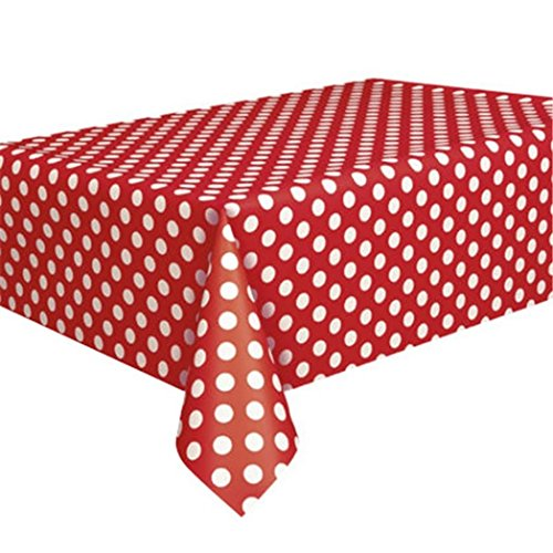 FinancePlan Plastic Red Polka Dot Tablecloth Travel Disposable Picnic Table Cover 9ft x 4.5f ()
