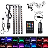 Car Strip lights - Speclux USB Port LED Lighting kit Car,Automotive Decorative footwell lights,Car Led Interior Lighting with Sound-activated control and Wireless Remote Control+Cigarette Lighte