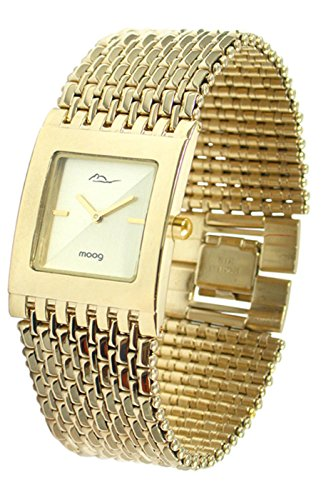 Gold Case Champagne Dial (Moog Paris Luxury Women's Watch with Champagne Dial, Gold Strap in Stainless Steel - M46054F-003)