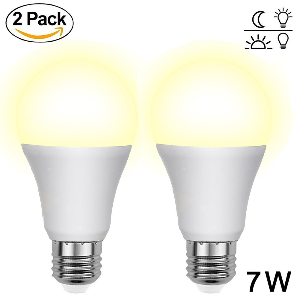 Aukora Dusk to Dawn Led Light Bulbs - 7W E26/E27 Sensor Lights Bulbs with Auto Switch Outdoor/Indoor LED Lighting Lamp for Porch Front Door Garage Basement (Warm White, 2 Pack)