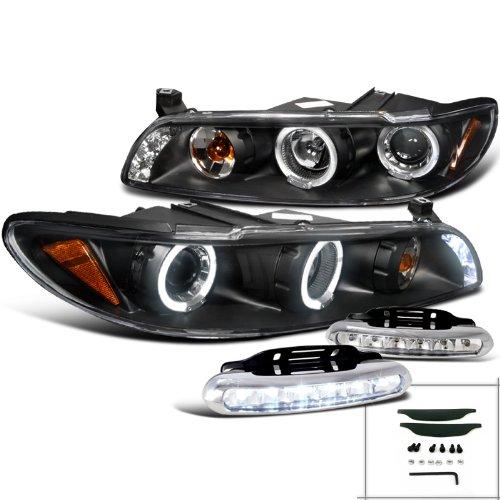 JDM Black Grand Prix LED Halo Projector Headlights+Bumper Fog DRL Lamp - 2003 Grand Prix Gt Headlight