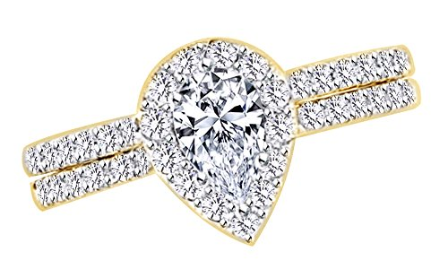 2 Ct White Natural Diamond Pear Frame Bridal Ring Set in 14k Yellow Gold Ring Size - 13 14k Yg Frame