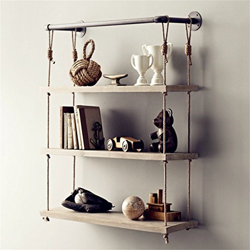 40//60//80cm Retro Wood Shelf Industrial Style Metal Floating Vintage Wall Unit