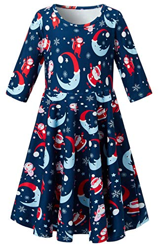 Fancy Sweet (Girls Ugly Christmas Dresses for Little Girls 6-7 Years Old Red Xmas Father Pattern Cute Animal Graphics 3D Print Swing Dress 3/4 Sleeves Midi Long Maxi Sweet Fancy Shirts Skirt Elf Comfy Soft Wear)