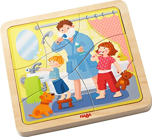 HABA Wooden Puzzle My Day - 22 Pieces and Four Layers for Different Daily Activities - Ages 3+