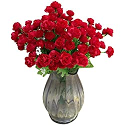Besde Artificial Rose Silk Scented Flowers Valentine's Day Gift (Red)