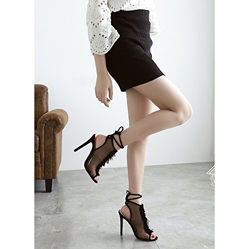 Y&Mai Tassels Peep Toe Elegant Stiletto Heel Sandals Women Black c1bO3l