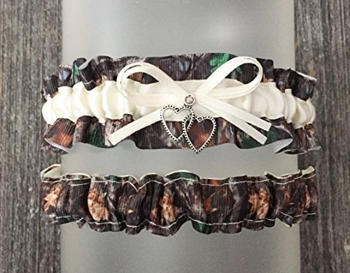 Realtree Timber Camouflage Ivory Satin Wedding Bridal Garter SET - Double Heart Charm