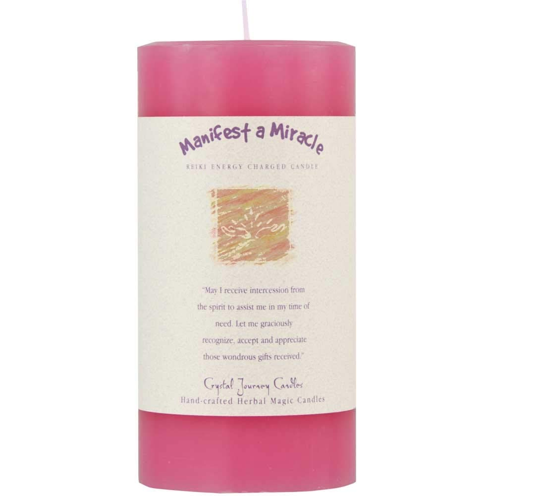 6'' X 3'' Crystal Journey Herbal Magic Reiki Charged Pillar Candle - Manifest a Miracle