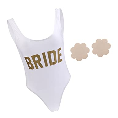 58fc672296 P Prettyia BRIDE One-Piece Beachwear Monokini One Piece Swimwear Wedding  Bachelorette Costume L Satin