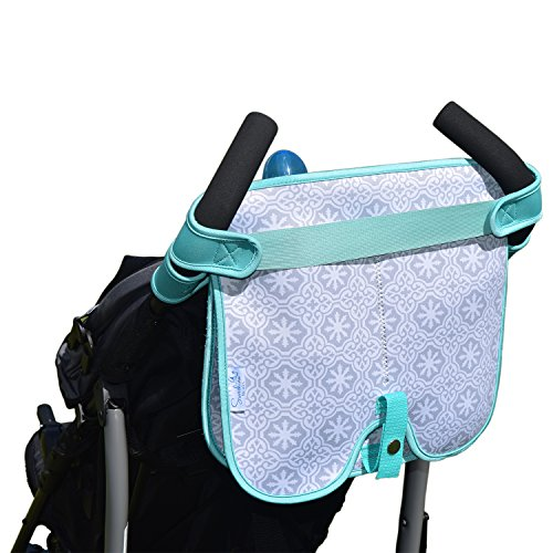 Baby Stroller Caddy Storage Organizer - Cup, Bottle and Diaper Holder for Stroller Accessories Bag - Universal Umbrella Stroller Organizer with Cup Holders - Perfect Baby Shower Gift (Turquoise) by Sunshine Nooks (Image #1)