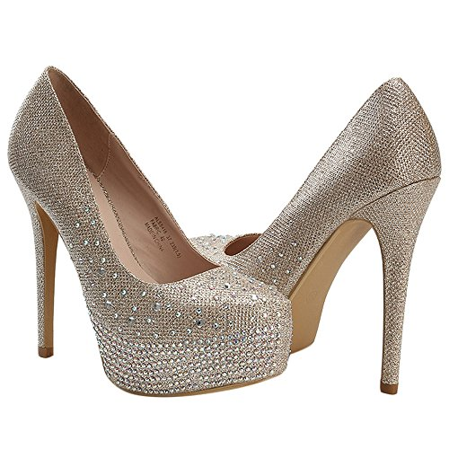 Alexis Leroy Womens Shiny Sequins Prom High Heels Wedding Bridal Party Platform Pumps Shoes Gold lx4yRm4CYl