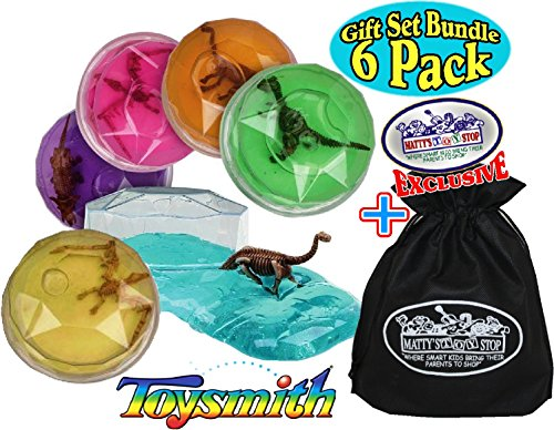 Toysmith Dinosaur Putty Fossil Discovery (Slime) Complete Gift Set Party Bundle with Exclusive ''Matty's Toy Stop'' Storage Bag - 6 Pack by Toysmith