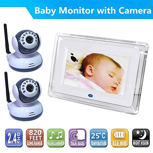 PAKASEPT Video Baby Monitor with 2 Digital Camera and 7 inch LCD Screen Two Way Talkback Auto Night Vision Temperature Detection Support Multi Cameras