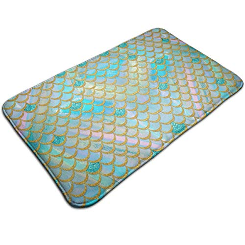 YOFFYO Anti-Slip Memory Foam Tub-Shower Bath Rug Watercolor Mermaid Fish Scales Home Decor Shaggy Rugs Indoor & Outdoor Entrance Mat, Machine-Washable/Anti Fatigue Doormat for Hotel from YOFFYO