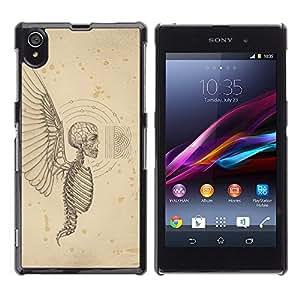 GOODTHINGS Funda Imagen Diseño Carcasa Tapa Trasera Negro Cover Skin Case para Sony Xperia Z1 L39 C6902 C6903 C6906 C6916 C6943 - ángel alas de muerte cráneo infierno esqueleto