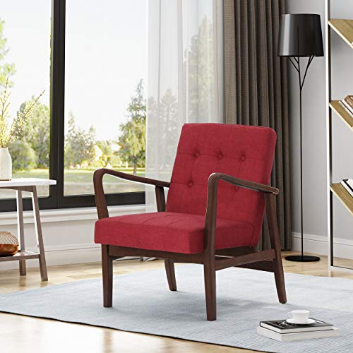 (Christopher Knight Home 306000 Conrad Fabric Mid-Century Birch Club Chair, Red and Dark Espresso,)