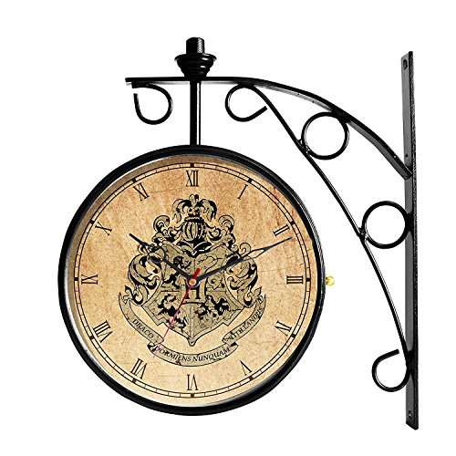 MC SID RAZZ 'Harry Potter' House Crest, 8 inch Dial Vintage Victoria Royal Double Sided Wall Clock/Black Station Clock with Antique Finish,Rakhi Gift/Licensed by Warner Bros,USA -