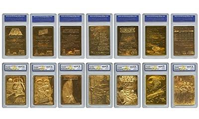 STAR WARS 1996 Original Genuine 23KT Gold Cards - Graded Gem-Mint 10 - SET OF 7