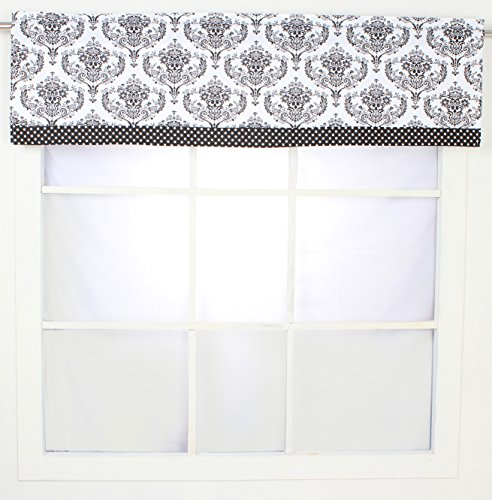 Valance Damask Window - Bacati - Classic Damask White/Black Window Valance