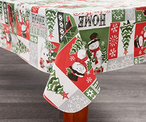 Traditions Collection Snowman Sentiment Vinyl Christmas Tablecloth (52 x 70)