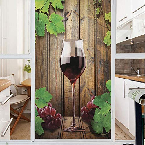 Decorative Window Film,No Glue Frosted Privacy Film,Stained Glass Door Film,Wine Glass Grapes Rustic Wood Kitchenware Home and Cafe Interior Art Design Decorative,for Home & Office,23.6In. by 59In Bro
