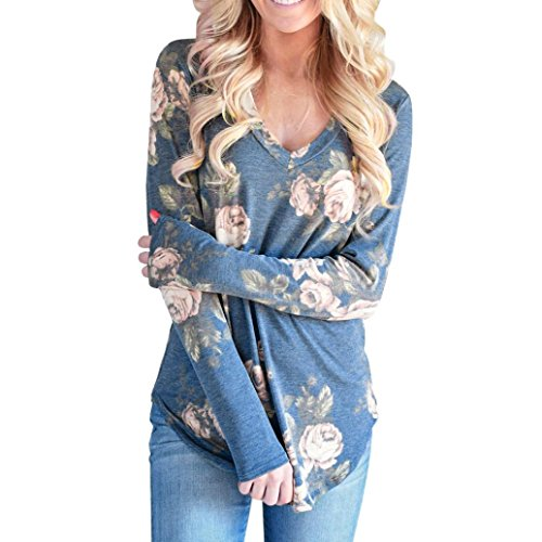 デコードする蛇行彼女の[S-XL] レディース Tシャツ Vネック 花柄 長袖 トップス おしゃれ ゆったり カジュアル 人気 高品質 快適 薄手 ホット製品 通勤 通学