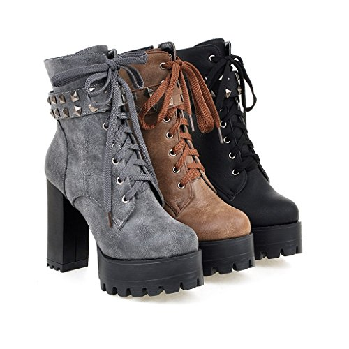 Leather Grey Motorcycle Women's Mid Calf Susanny Booties Ankle Lace High Boots up Buckle Military Heel Cowboy tqTaP4w