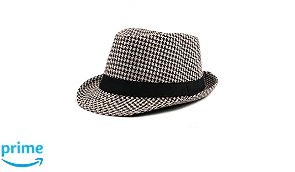 18b8d6551 Classic Houndstooth Black Band Wool Trilby Cap Soft Wool Blend Hat ...