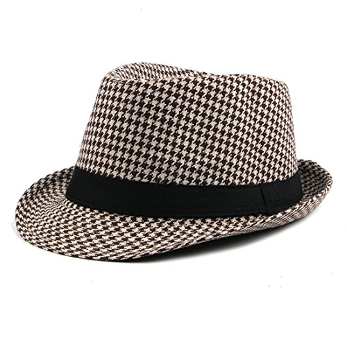 Classic Houndstooth Black Band Wool Trilby Cap Soft Wool Blend Hat Winter - Beige + Khaki