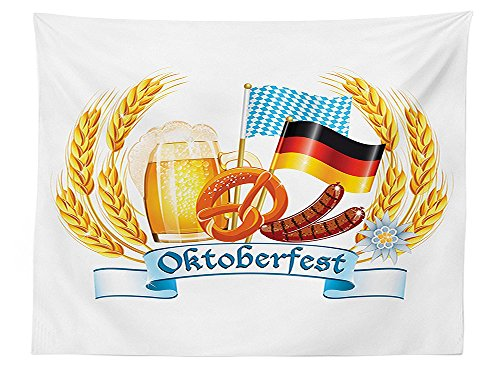 vipsung Oktoberfest Decorations Tablecloth Oktoberfest Celebration Design with Sausage Drink Flags Wheat Stems Banner Dining Room Kitchen Rectangular Table Cover Yellow Blue (Banner Fringe Oktoberfest)