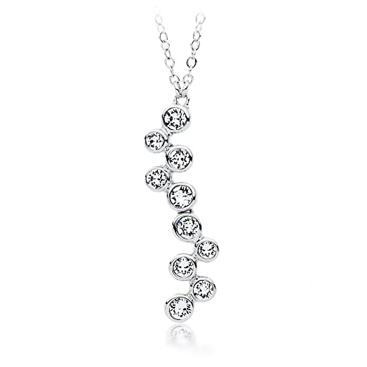 MYJS Circle Rhodium Plated Classic Pendant Necklace with Clear Swarovski Crystals , 17+2