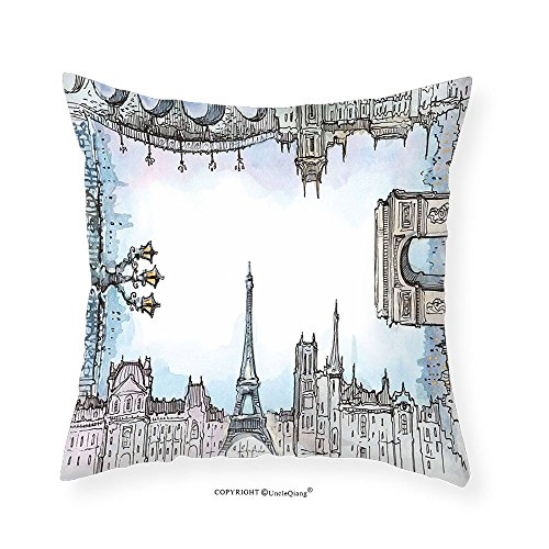 VROSELV Custom Cotton Linen Pillowcase Paris Eiffel Towel Famous World Places French Town Cityscape in Watercolor Picture for Bedroom Living Room Dorm Baby Blue Grey - Water Pictures Place Tower