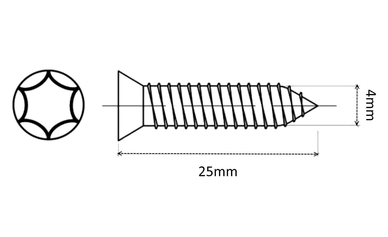 100x Tornillos para madera con cabeza c/ónica 4//25mm acero galvanizado huella Torx C41581 AERZETIX