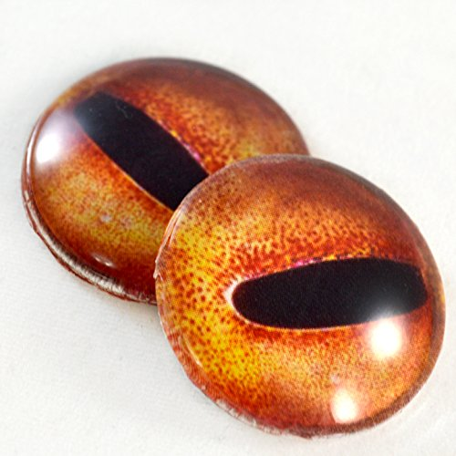 Pair of Orange Octopus Eyes 30mm Glass Eye for Taxidermy Sculptures or Jewelry Making Pendants Crafts Art Doll Wire Wrapping DIY Flatback (Wire Wrapping Cabochons)