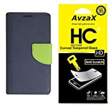 Avzax Flip Cover With Magnetic Closure (Blue) with Tempered Glass For Micromax Canvas Amaze 4G Q491